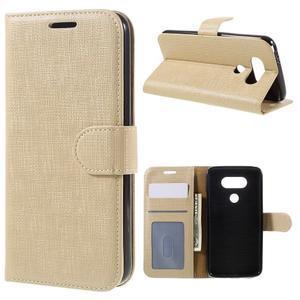 Cloth koženkové peněženkové pouzdro na LG G5 - béžové - 1