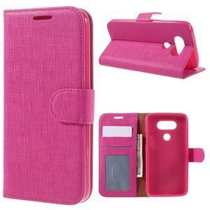 Cloth koženkové peňaženkové puzdro pre LG G5 - rose - 1