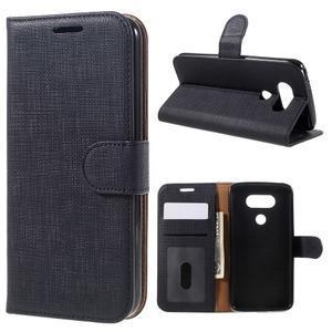 Cloth koženkové peňaženkové puzdro pre LG G5 - čierne - 1