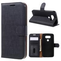 Cloth koženkové peňaženkové puzdro pre LG G5 - čierne - 1/7