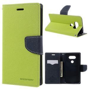 Goos stylové PU kožené puzdro pre LG G5 - zelené - 1