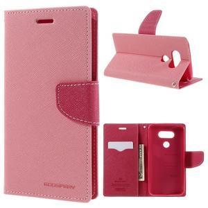 Goos stylové PU kožené puzdro pre LG G5 - ružové - 1