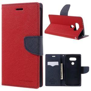 Goos stylové PU kožené puzdro pre LG G5 - červené - 1