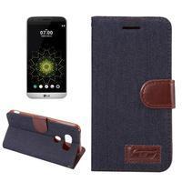 Jeans peňaženkové puzdro pre LG G5 - černomodré - 1/7