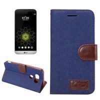 Jeans peněženkové pouzdro na LG G5 - tmavěmodré - 1/7