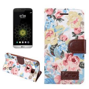 Kvetinové puzdro pre mobil LG G5 - biely vzor - 1