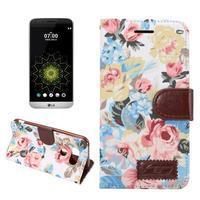 Kvetinové puzdro pre mobil LG G5 - biely vzor - 1/7