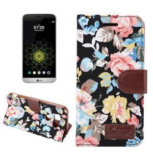 Kvetinové puzdro pre mobil LG G5 - čierny vzor - 1