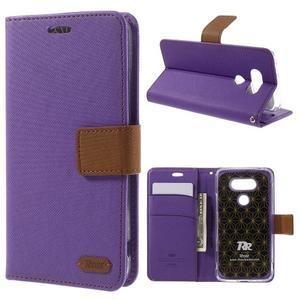 Diary PU kožené puzdro pre mobil LG G5 - fialové - 1
