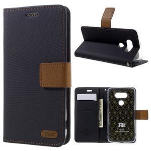 Diary PU kožené puzdro pre mobil LG G5 - čierne - 1