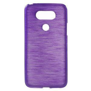 Hladký gelový obal s broušeným vzorem na LG G5 - fialový - 1