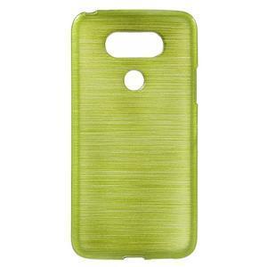 Hladký gelový obal s broušeným vzorem na LG G5 - zelený - 1