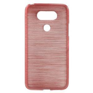 Hladký gélový obal s brúseným vzorem na LG G5 - ružový - 1