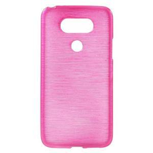 Hladký gélový obal s brúseným vzorem na LG G5 - rose - 1
