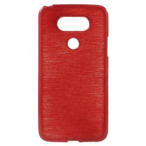 Hladký gélový obal s brúseným vzorem na LG G5 - červený - 1