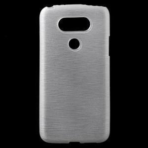 Hladký gélový obal s brúseným vzorem na LG G5 - biely - 1