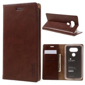 Luxury PU kožené puzdro pre mobil LG G5 - hnedé - 1