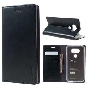 Luxury PU kožené puzdro pre mobil LG G5 - tmavomodré - 1