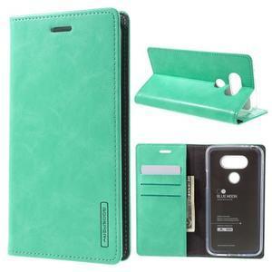Luxury PU kožené puzdro pre mobil LG G5 - cyan - 1