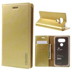 Luxury PU kožené puzdro pre mobil LG G5 - zlaté - 1