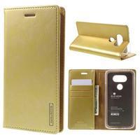 Luxury PU kožené puzdro pre mobil LG G5 - zlaté - 1/7