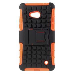Vysoko odolný kryt so stojanom na Microsoft Lumia 640 - oranžový - 1