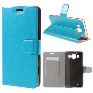 Horse PU kožené puzdro pre mobil Microsoft Lumia 950 - modré - 1