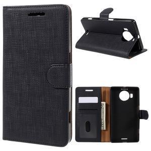 Cloth PU kožené puzdro pre mobil Microsoft Lumia 950 XL - čierne - 1