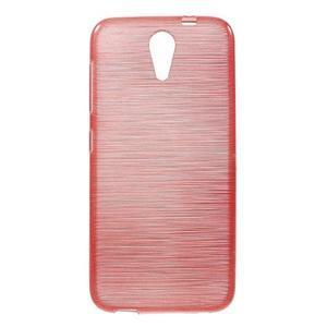 Brushed hladký gelový obal na HTC Desire 620 - červený - 1