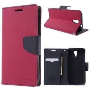 Diary PU kožené puzdro pre mobil HTC Desire 620 - rose - 1