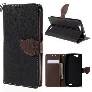 Čierne peňaženkové puzdro na Huawei Ascend G7 - 1