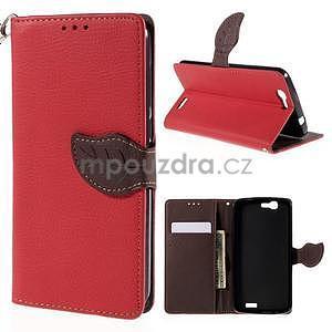 Červené peňaženkové puzdro na Huawei Ascend G7 - 1