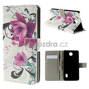 Peňaženkové puzdro Huawei Y635 - kvetinový vzor - 1