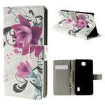 Peňaženkové puzdro Huawei Y635 - kvetinový vzor - 1/7