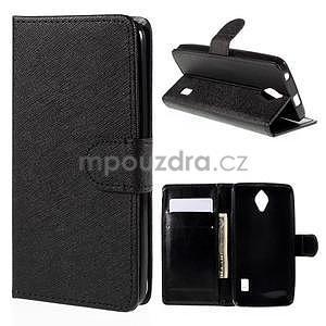 PU kožené čierne puzdro so zapínaním Huawei Y635 - 1