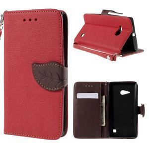 PU kožené púzdro so zapínaním na Nokia Lumia 730/735 - červené - 1