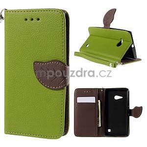 PU kožené púzdro so zapínaním na Nokia Lumia 730/735 - zelené - 1
