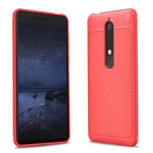 IVS gélový obal so štýlovou textúrou na Nokia 6.1 - červený - 1