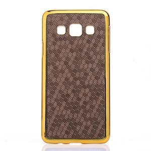 Elegantný obal na Samsung Galaxy A3 - hnědy se zlatým lemem - 1