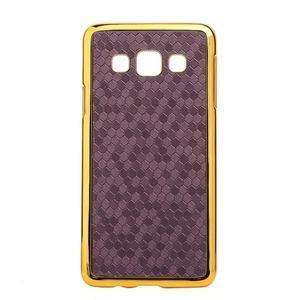 Elegantný obal pre Samsung Galaxy A3 - fialový se zlatým lemem - 1