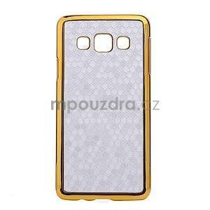 Elegantný obal na Samsung Galaxy A3 - strieborný se zlatým lemem - 1