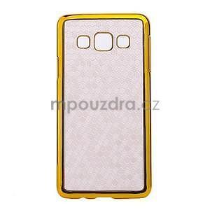 Elegantný obal na Samsung Galaxy A3 - biely se zlatým lemem - 1
