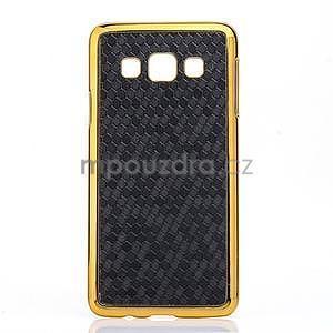 Elegantný obal na Samsung Galaxy A3 - čierny se zlatým lemem - 1