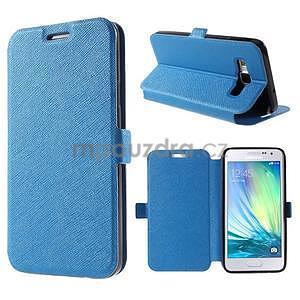 Klopové kožené puzdro na Samsung Galaxy A3 - modré - 1