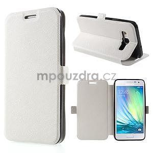 Klopové kožené puzdro na Samsung Galaxy A3 - biele - 1