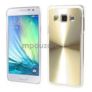 Metalický plastový obal na Samsung Galaxy A3 - zlatý - 1
