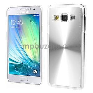 Metalický plastový obal na Samsung Galaxy A3 - strieborný - 1