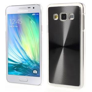 Metalický plastový obal na Samsung Galaxy A3 - čierny - 1