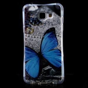 Tvarovaný gelový obal na Samsung Galaxy A5 (2016) - modrý motýl - 1