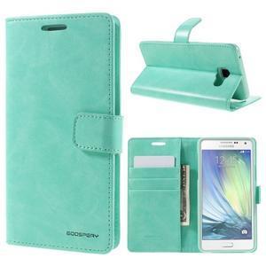 Luxusný PU kožené puzdro pre mobil Samsung Galaxy A5 (2016) - cyan - 1